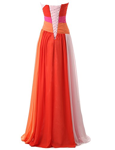 Kleid Bandage Damen Brautjungfer Farbverlauf SD063 Abendkleid UK16 Chiffon Clearbridal Maxikleid Formale Fuchsia xBXOqqw8