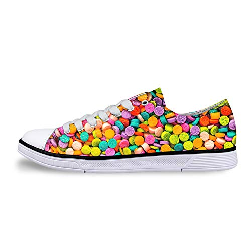 whsplaza Low-end Anti-Slip Flat Sneakers 3D Design Canvas Shoes with Colorful Pills for Men Women. -