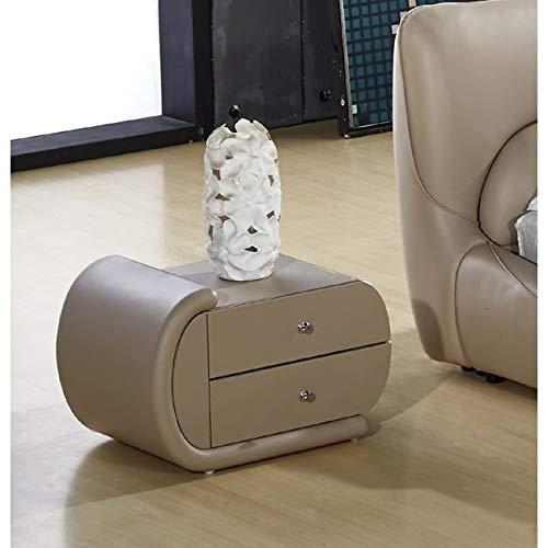 US Pride Furniture Zoe Hazel Wood Brown Faux-Leather Oval Nightstand Nightstand - Facing-left