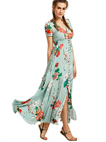 [Milumia Women's Button Up Split Floral Print Flowy Party Maxi Dress Light Green L] (Hippie Dress)