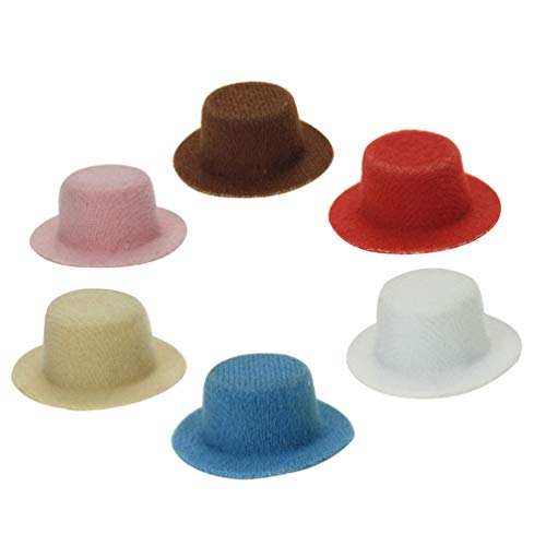 Floralby 1Pc Miniature Fedora Hat Doll House Accessories Kids Pretend Play Gift Toy Random Color -