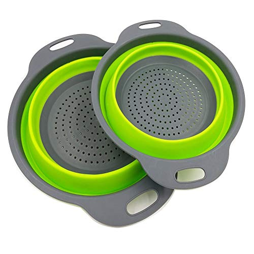 Kitchenware Colander - 2 Collapsible Colander Mixing Bowl Strainer and Colander Set Silicone Colander Bowls Use for Draining Fruits Vegetables and Pastas by Bellagione (Green)