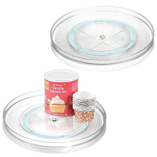 mDesign Lazy Susan Plastic Turntable Food Storage Container for Cabinets, Pantry, Refrigerator, Countertops, Spinning Organizer for Spice Bottles Jar, Condiments, Baking, 2 Pack - Clear/Blue (What Susan Is Lazy)