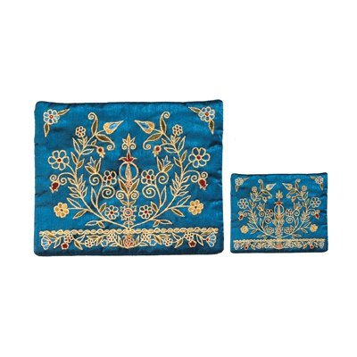 Pomegranate-Flower-Tree-Embroidered-Tallit-and-Tefillin-Bag-Set-in-Blue
