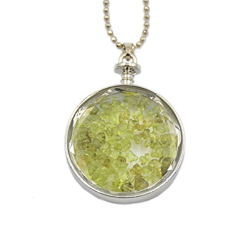 AD Beads Natural Gemstone Chips Reiki Healing Point Round Pendant Silver Plated 40mm for Necklace Making (Peridot)