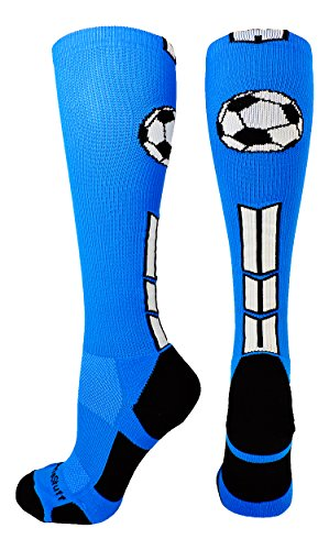 MadSportsStuff Soccer Socks with Soccer Ball Logo Over the Calf (Electric Blue/Black/White, Small) Over Ball