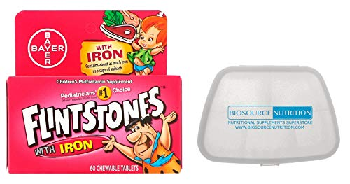 Biosource Nutrition Pocket Pill Pack in Bundle with Flintstones Multivitamins with Iron 60 Chewable Tablets