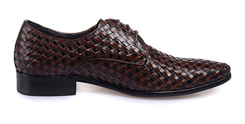 cuero hombres novia Vestido de s tejido 's de negocio Men High de zapatos de Men' los zapatos HYLM Vestidos brown Grade zapatos tejer hasta 1TqIRvvx