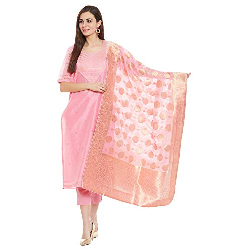 (PinkShink Women's Readymade Pink Chanderi Silk Indian/Pakistani Salwar Kameez with Banarasi Silk Dupatta)