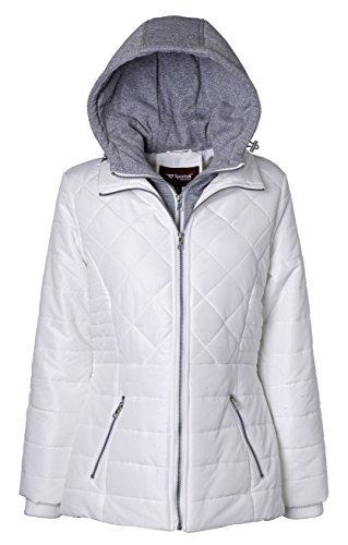 Sportoli Women's Down Alternative Quilted Midlength Vestee Puffer Jacket with Fleece Hood - Snow White (Large) Ladies Quilted Parka Jacket