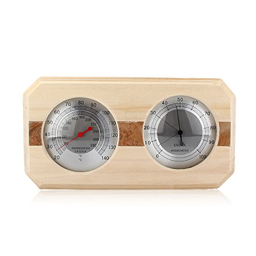 Eleoption Wooden Sauna Hygrothermograph Thermometer Hygrometer Sauna Room Accessory (Square) (B)