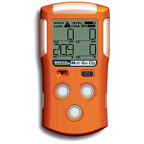 Gas Clip Technologies MGC Multi Gas Clip 4-Gas Monitor H2S,O2,CO, and LEL , 2-Month Battery Life