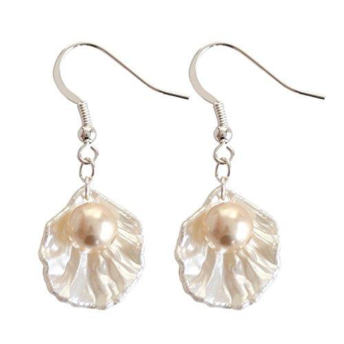 MUZHE Bright Color Pearl Sea Shell Drop Earring Creative Polishing Dangle Earring for Women Girls (White Mother Of Pearl Seashell)