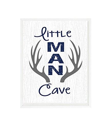 Little Man Cave, Woodland Nursery Decor, Navy, Gray, Rustic Nursery, Deer Antlers, Boy Nursery, Baby Boy Gift, Hunting Nursery, Nursery -