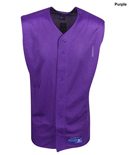 tton Mesh Sleeveless Baseball Jersey, Purple, X-Large (Sleeveless Button Front Jersey)