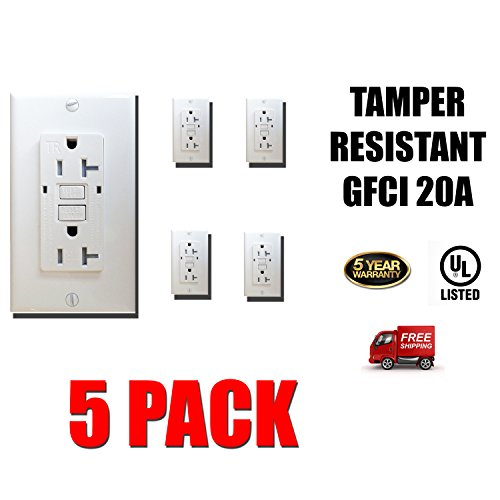 Dynamics GFCI 20 Amp 125 Volt, Tamper Resistant, Safety Outlet, 2-pole, 3-wire, Grounding, LED Indicator - Self Test | 5 Pack by Dynamics