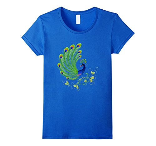 Womens Peacock Blue and Green Feathers Plume T-Shirt Large Royal Blue