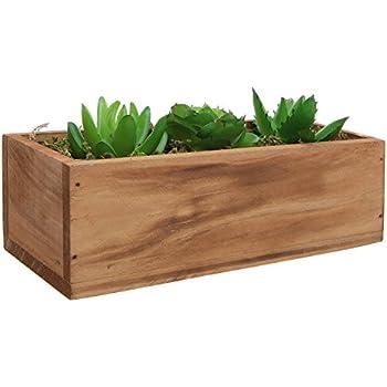 3 Faux Succulent Plants & Moss Decorative Windowsill Wood Plant Container Box