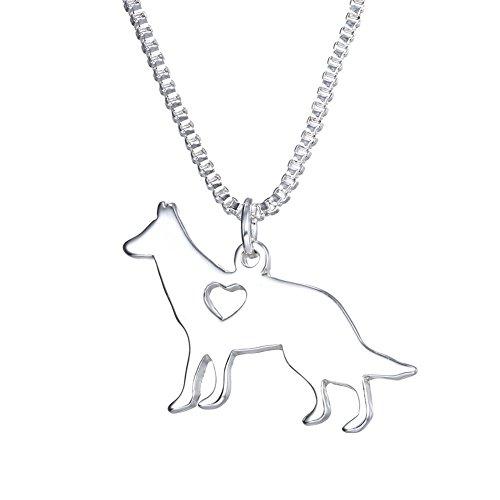 (WeiVan German Shepherd Necklace Dog Silhouette Pendant Best Friends Gift)