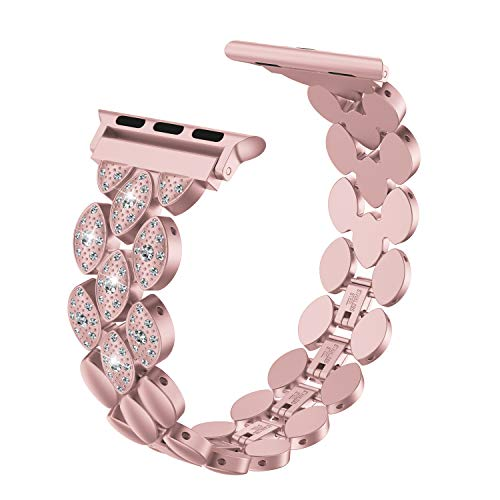 Wearlizer Rose Gold Compatible Apple Watch Bands 42mm 44mm Womens iWatch Exclusive Beauty Corn-Block Wristbands Luxury Rhinestone Replacement Stainless Steel Strap Dress Metal Bracelet Series 4 3 2 1