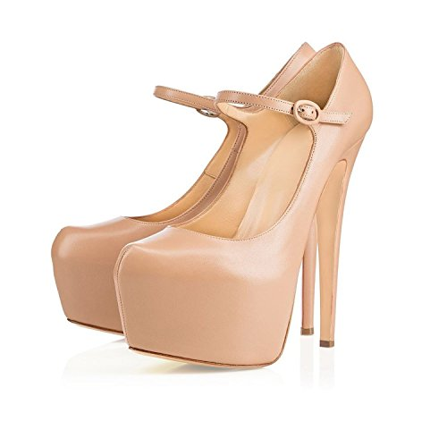 Mary Pumps Jane Round Toe Womens Beige Platform Shoes Court Soireelady pURawYqB