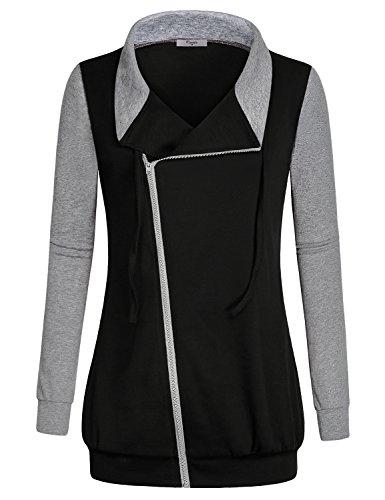 Zip Front Collared Sweatshirt Jacket - 1