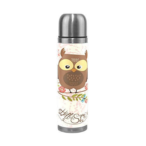 TSWEETHOME Vacuum Insulated Water Bottle Double Wall Stainless Steel Leak Proof Wide Mouth with Novelty Graphic Cartoon Cute Owl Illustration Compact Bottle Beverage Bottle
