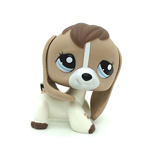 Mini Pet Shop Puppy Dog White Black Tan Blue Eye Cow Print Baby Beagle #2207 -
