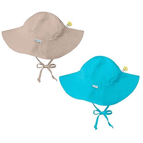 i play. 2 Pack UPF 50+ Sun Protection Brim Toddler Sun Hats-2T-4T-Beige-Aqua