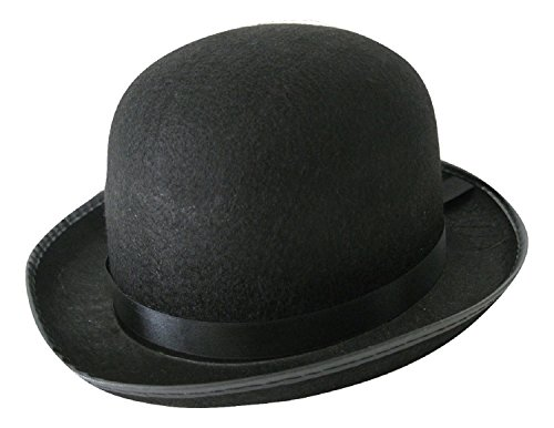 MyPartyShirt Men's Roaring 20's Black Felt Derby Light Bowler Top Hat Costume Accessory - Man Bowler