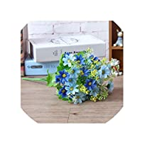crystal004 1 Bunch 28 Head Cineraria Artificial Flower Bouquet Home Office Decor Silk Daisy Artificial Decorative Indoor Outdoor A12150,Blue