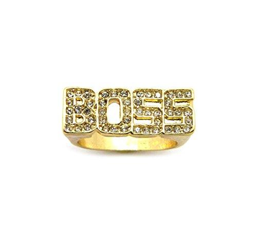 NYFASHION101 Stone Stud BOSS Gold-Tone Hip-Hop Fashion Ring - 9