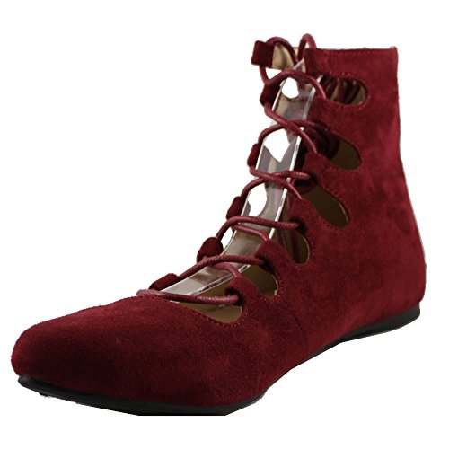 Forever Link Mujeres Blisse-05 Sueded Lace Up Flats Burgundy