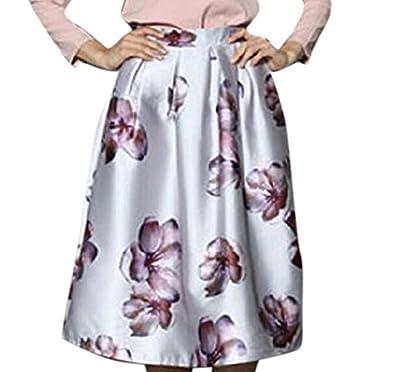 Youtobin Women's Spring Vintage Floral Printed Elastic Waist Midi Skater Skirt