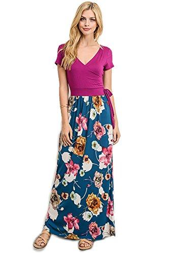 SHOPGLAMLA Hi Low Short Sleeve Print Stretch Knit Wrap Maxi Dress, Full Length - Magenta/Teal M (Print Wrap Short Dress Sleeve)