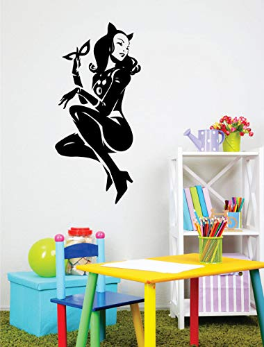 Wall Decor DC Comics Superhero Wall Decal Art Cartoon Roommates Decorative Housewares Mural Catwoman Gotham City Supervillain Character -