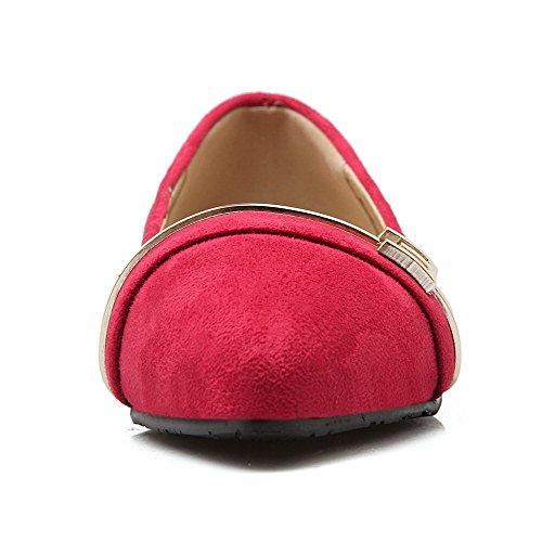 VogueZone009 Damen Spitz Zehe Niedriger Absatz Mattglasbirne Rein Ziehen auf Pumps Schuhe Rot
