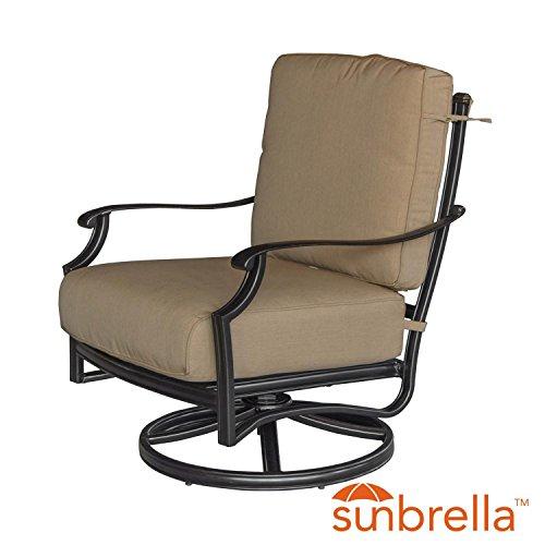 Rocker Cast Aluminum Chair Swivel (Lakeview Outdoor Designs Bocage Cast Aluminum Patio Swivel Rocker Club Chair W/Sunbrella Heather Beige Cushions)