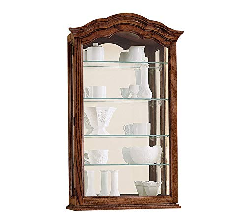 Wood & Style Furniture Vancouver II Curio Cabinet by Home Office Commerial Heavy Duty Strong Décor (Curio Oak Cabinet Mantel)