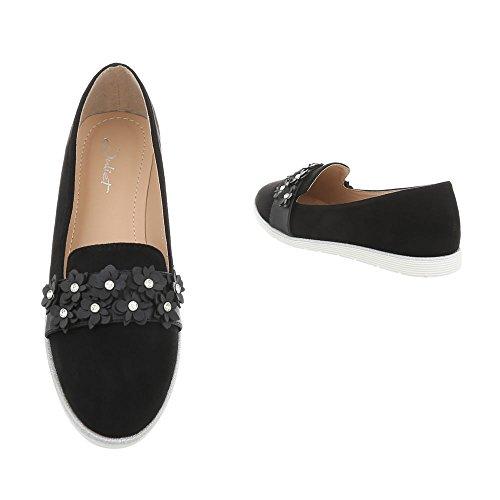 en con holgazán Ital Zapatillas mujeres para 75 diseño negro Design planas N 5ttYwq8
