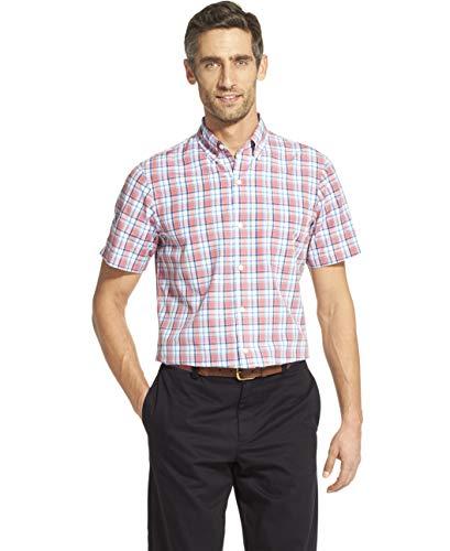 IZOD Men's Breeze Short Sleeve Button Down Plaid Shirt, Rapture Rose, XX-Large