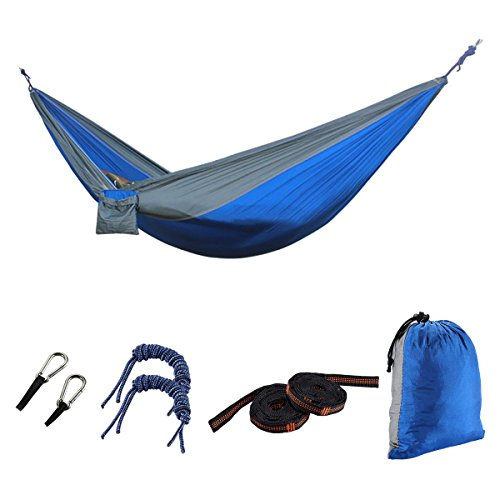 Camping Hammock, Portable Lightweight Parachute Nylon Fabric Hammock for Camping Hiking Travel Yard Forest Beach. (Blue-Gray)