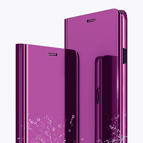 iPhone XS Max Case, iPhone XS Max Cover with Stand Mirror Flip Slim Mirror Case flip Folio Full Body Protection Shockproof Non-slip Scratchproof Cover Compatible iPhone XS Max 6.5 inch (purple)