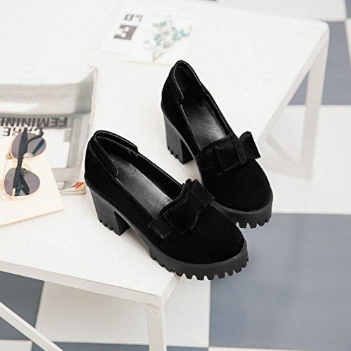 Easemax Womens Retro Faux Suede Bows Round Toe Platform High Chunky Heel Pumps Shoes Black TdjmkBx