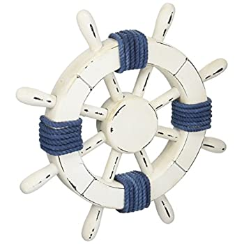 "Hampton Nautical 12"" Wooden Steering Rustic White Decorative Ship Wheel with Dark Blue Rope"