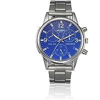 Reloj, Han Shi Mens Fashion vidrio Acero Inoxidable Reloj de pulsera de cuarzo analógico simple reloj