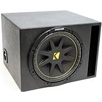 ASC Package Single 10 Kicker Sub Box Vented Port Rhino Coated Subwoofer Enclosure C10 Comp 300 Watts Peak