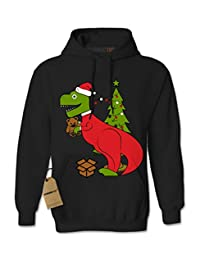 Expression Tees Tyrannosaurus Rex Ugly Christmas Unisex Adult Hoodie