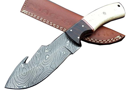 B01NCVLTLX-8659 Damascus knife custom handmade – 09.00 Inches Camel Bone  Rose Wood Handle – Gut Hook Knife Full Tang – Comes With A Sheath