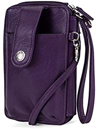 Jacqui Vegan Leather RFID Womens Crossbody Cell Phone Purse Holder Wallet